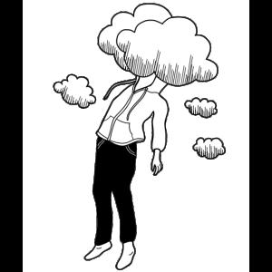 Kopf in den Wolken Träumer Dreamer Wolke Boy