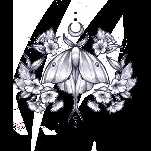 Motte Blumen Sonnen Schmetterlings Design Print