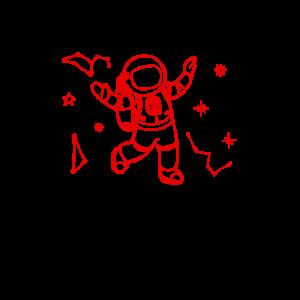 Glücklicher Astronaut tanzt im Weltraum