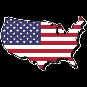 America Karte mit Flagge