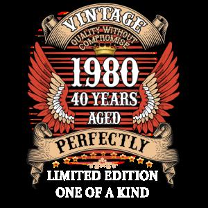 40. Geburtstagsgeschenk Vintage 1980 perfekt gealtert