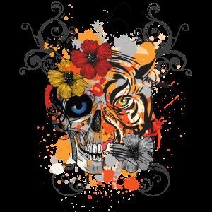 Abstract Tattoo Tribal Tiger Skull Face