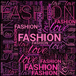 Liebe Mode Wortkunst in Pink und Lila auf Schwarz