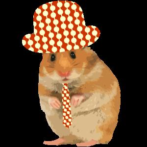 Hamster schick gemacht - Hut - Krawatte