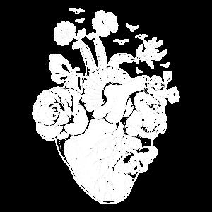 Anatomisches Herz mit Blumen