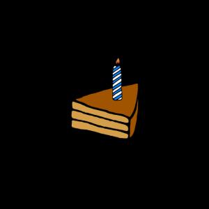 Stück Geburtstagskuchen mit Kerze, Geschenkidee
