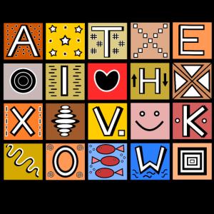 Ethno muster alphabet animals poster