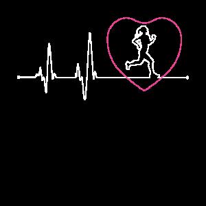 Frauen Läufer Herzschlag Laufen Mädchen Herzschlag Fu