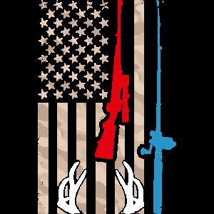 USA Flag Hunting Fishing Vintage Patriot Hunter Fi