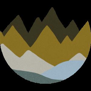 Berge blau, grau und grün