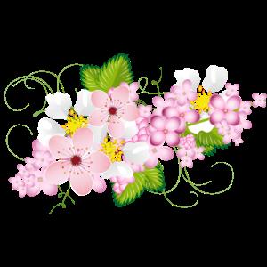 Zweig aus Flieder, Erdbeeren und Kirsch Blüten