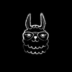 Schwarze Maske Lama Zeichnung Vintage