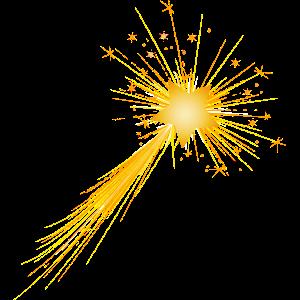 kleine goldene Sternschnuppe im Nachthimmel