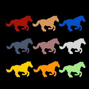farbige Pferde