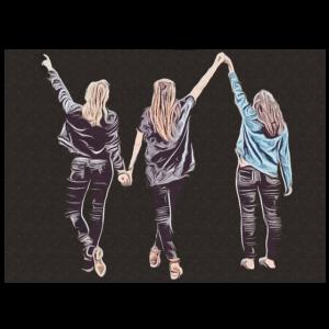 Design drei Freundinnen im Popart-Stil dunkel