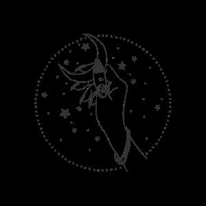 Die Hand der Hexe, der Fee, die den Mond hält.