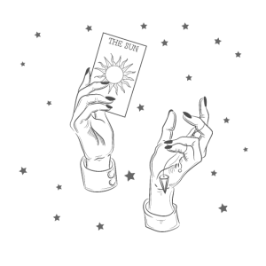 Hände halten eine Tarotkarte. Hexe, Magie, Sonne