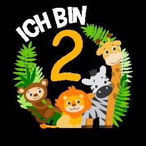 2. Geburtstag Geburtstagsshirt Dschungel Zweiter