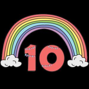 Zehn Jahre Alt 10. Geburtstag Mädchen Regenbogen