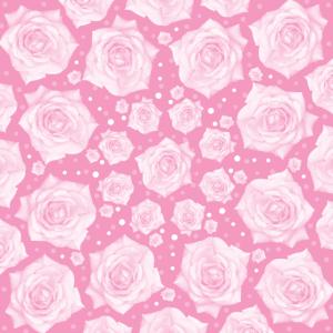 Weiße Rose sanft auf rosa kreisförmigem Muster