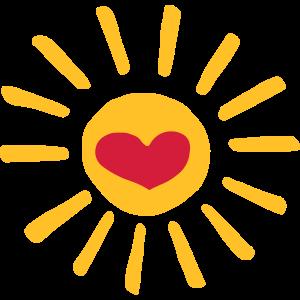 Herz Sonne bunt / heart sun yellow red - Geschenk