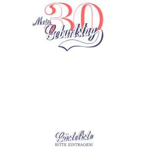 Retro Gästeliste zum 30. Geburtstag Gästebuch