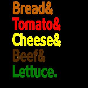 Brot & Tomaten & Käse & Rindfleisch & Salat.