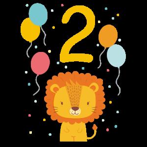 2. Geburtstag Geburtstagsshirt Löwe Zweiter Geb