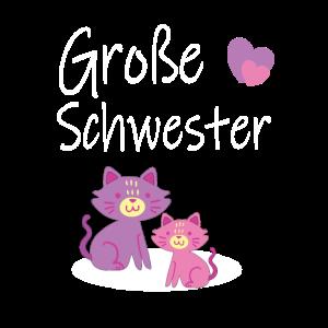Grosse Schwester Katze Pink Herz