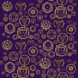 Gold auf lila Chakren Muster