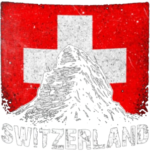 Schweiz Flagge und Alpen