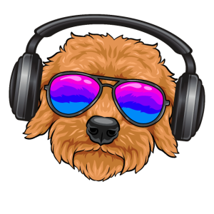 Ein cooler Goldendoodle Brille, Kopfhörern, Musik