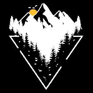 Abenteuer Natur Bergsteiger Design mit Wald, Berge