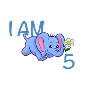 I am 5 - elephant blue