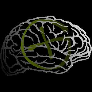 Geocaching Brain weiss schwarz grün verlauf