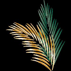 ein grünes und ein goldenes Palmenblatt
