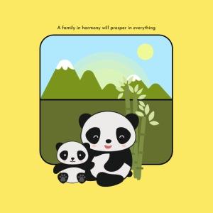 Panda Kawaii   Madre e Hija Bambú