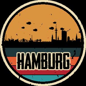 Hamburg Skyline City - Retro Vintage