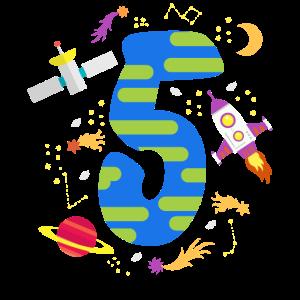Süßer Astronaut Space 5 Jahre alt Geburtstag