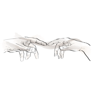 Verbundene Hände durch imaginäres Band