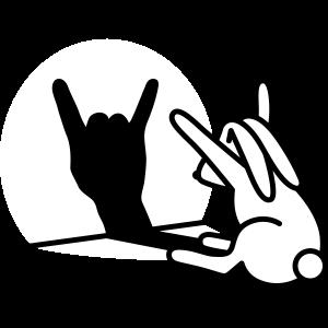 Kaninche Schatten Hand ROCK Musik HARD ROCK Fan