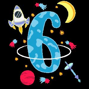 Süßes Astronaut 6 Jahre altes Geburtstags T-Shirt