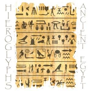 ausgerissener Papyri mit Hieroglyphen