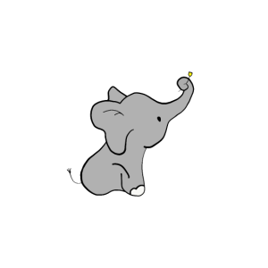 Kleiner Elefant mit Blume