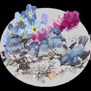 Voegel mit Blumen