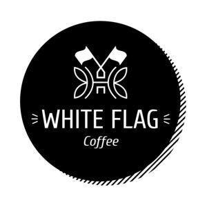 logo white flag coffee bw