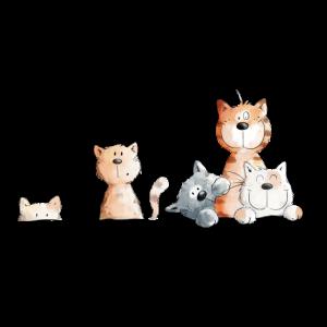 Drolliges Katzen Team I Katzenmotiv Comic Geschenk