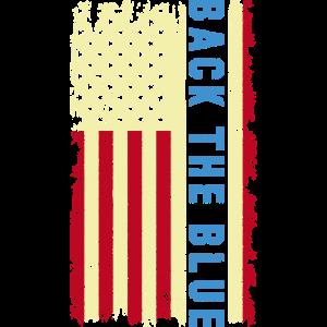 Zurück Die blaue dünne blaue Linie USA Flagge Polizei lebt