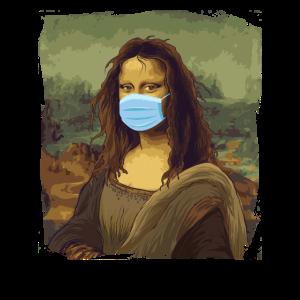 Mona Lisa Quarantäne Corona Krise Mundschutz covid