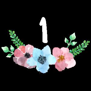 Bunte Blumen und Zahl zum ersten Geburtstag Baby